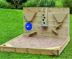 Outdoor sandpit with activity wall, FREE UK DELIVERY Outdoor recreation or outdoor activity identifies recreation Sand Pits For Kids, Kids Sand, Backyard Playground, Backyard For Kids, Backyard Games, Sensory Wall, Sensory Boards, Outdoor Play Areas, Outdoor Games