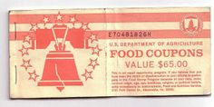 This is what food stamps looked like when my divorced mom was forced to use them. I was mortified when she asked me to go to the store to pick things up. This photo gave me quite the flashback.