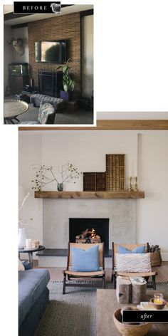 A beautiful brick fireplace makeover using cement. This contemporary fireplace i. - - A beautiful brick fireplace makeover using cement. This contemporary fireplace i… – - Brick Fireplace Makeover, Concrete Fireplace, Fireplace Remodel, Modern Fireplace, Fireplace Wall, Fireplace Ideas, Mantle Ideas, Interior Design And Remodeling, Home Remodeling
