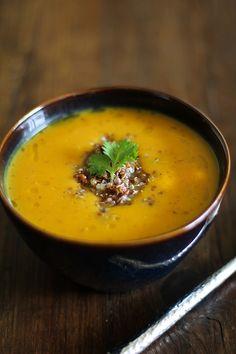 Roasted Sweet Potato Soup with Quinoa - - - > www.theroastedroot.net