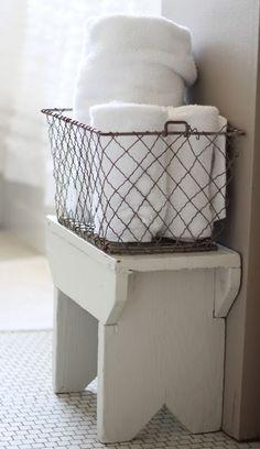 Superior Wire Basket Towel Storage