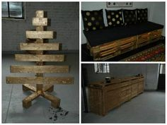 Workbench, sofa & Chritmas tree: all made from pallets