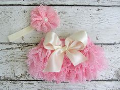 Pink Lace Bloomer with Cream Satin Bow and Flower Headband Set Smash Cake Set Newborn Photo Prop