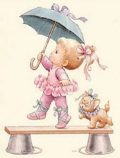 Ruth Morehead Hat was von 'Zille' Holly Hobbie, Vintage Cards, Vintage Images, Cute Images, Cute Pictures, Dancing In The Rain, Digi Stamps, Cute Illustration, Cute Drawings