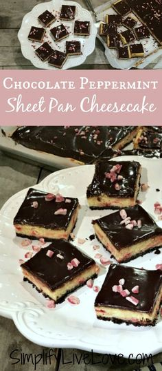 Delicious and easy chocolate peppermint sheet pan cheesecake! No spring form pans or fuss required. Make one big sheet pan or two 9x13s!