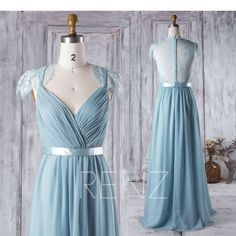 Dusty Blue Bridesmaid Dress Ruched V Neck Wedding Dress Illusion Lace Back Cap Sleeves Prom Dress Pleated A-line Chiffon Evening V-Neck-Brautkleid staubig blau Brautjungfernkleid Spitze Dusty Blue Bridesmaid Dresses, Blue Dresses, Formal Dresses, Sequin Bridesmaid, V Neck Wedding Dress, Dress Prom, Wedding Dresses, Prom Dresses With Sleeves, Chiffon Dresses
