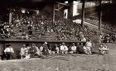 Phila Athletics in the dugout prior to start of game 1 of 1914 World Series at Shibe Park