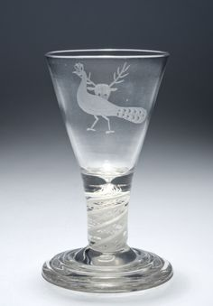 Firing Glass, Glass with engraved decoration; opaque-twist stem, Scotland, late 18th