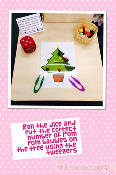Take turns to roll the dice and put the correct number of baubles onto the tree… Eyfs Activities, Nursery Activities, Maths Eyfs, Numeracy, Preschool Christmas, Christmas Activities, Christmas Themes, Jolly Christmas Postman, Funky Fingers