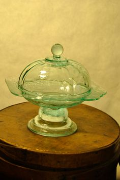 Covered Green Depression Glass Dish