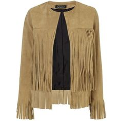 ThePerfext Tan Suede Fringe Mimi Jacket ($435) ❤ liked on Polyvore featuring outerwear, jackets, coats, coats & jackets, clothes - outerwear, tan, beige jacket, lined leather jacket, cowboys jacket and suede fringe jackets