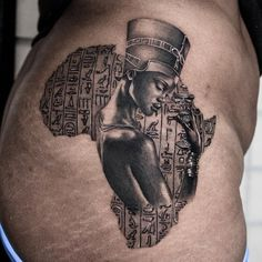 Egyptian tattoo by Natashia Art Muse Egyptian Queen Tattoos, Egyptian Tattoo Sleeve, African Sleeve Tattoo, African Queen Tattoo, African Tribal Tattoos, African Warrior Tattoos, African American Tattoos, Afro Tattoo, Body Art Tattoos