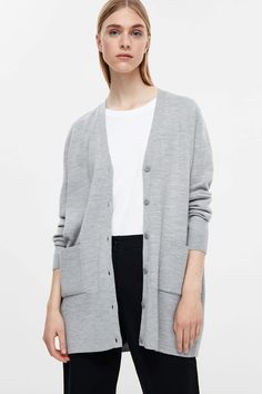 COS image 7 of Wool knit cardigan in Light Grey