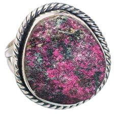 Rough Russian Eudialyte 925 Sterling Silver Ring Size 7.75 RING768172