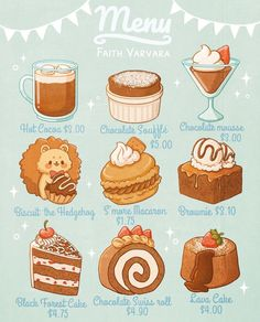 Cute Food Drawings, Cute Kawaii Drawings, Arte Do Kawaii, Kawaii Art, Cute Food Art, Cute Art, Menue Design, Dessert Illustration, Kawaii Doodles