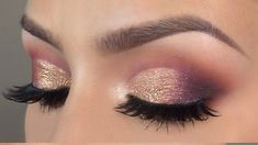 Purple gold cut crease makeup tutorial l HUDA BEAUTY desert dusk palette - YouTube