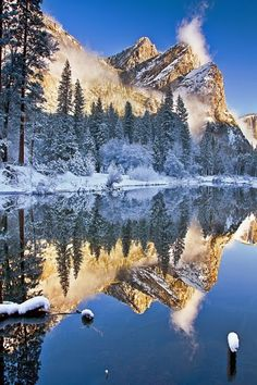 The Three Brothers of Yosemite, California - by Joseph Trinh. The pictures I took at Yosemite, every one of them, are gorgeous! Yosemite should be on everyones list of place to go. Yosemite National Park, National Parks, Beautiful World, Beautiful Places, Places To Travel, Places To Go, Winter Szenen, Winter Time, Winter Magic