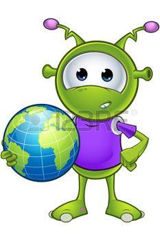 green alien: Pequeño extranjero verde Vectores