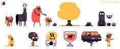 by bbrunomoraes on DeviantArt Game Character Design, Game Design, How To Pronounce Gif, Pixel Animation, Pixel Art Games, Online Art Gallery, Game Art, Color Schemes, Concept Art