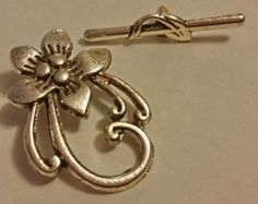 Flower Toggle Clasp - 4 sets -Tibetian Silver - Silver Clasps - Necklace Clasp - Bracelet Clasp - Antique Silver Clasps