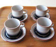 Set of Four Arabia Finland Vintage Retro Taika Coffee Cups and Saucers #Arabia