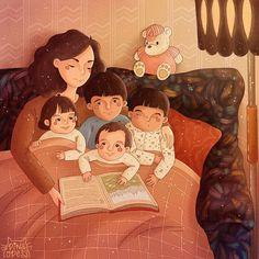 Illustrations - Your Odess Family Illustration, Digital Illustration, Sarra Art, Chica Fantasy, Satirical Illustrations, Cute Baby Videos, Mother Art, Cute Couple Art, Dad Baby