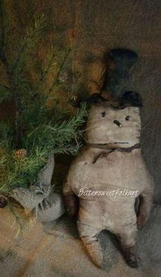 "Primitive folky snowman ""Joe"" #NaivePrimitive Primitive Christmas Patterns, Primitive Christmas Decorating, Primitive Country Christmas, Primitive Patterns, Primitive Snowmen, Primitive Crafts, Christmas Snowman, Winter Christmas, Vintage Christmas"