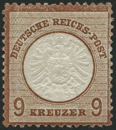 """German Empire, 1872 Small shield issue, Michel 27b. 1872, 9 Kr. lilac brown, rest of hinge, superb in every respect (choice copy), photo expertize Brugger: """"the stamp shows deep rich colors, excellent embossed, well centered and well perforated"""", Michel (2000.-)"""