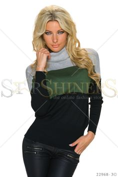 Foreign Language Black Blouse Fall Trends, Leather Material, Black Blouse, Clothing Items, Long Sleeve Sweater, Beautiful Outfits, Knitwear, Turtle Neck, Coat