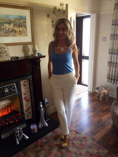 Topshop Blue Vest Top, River Island Textured Cigarette Trousers & Irregular Choice of course!!