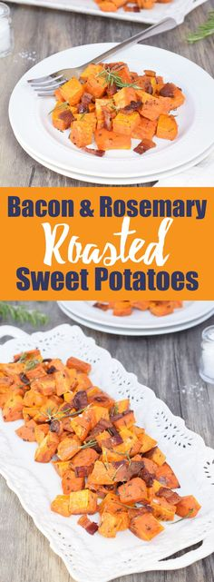 Bacon & Rosemary Roasted Sweet Potatoes from Living Loving Paleo! paleo, gluten-free & dairy-free Such a simple and incredibly flavorful side dish! Paleo Recipes, Real Food Recipes, Cooking Recipes, Ketogenic Recipes, Potato Recipes, Paleo Side Dishes, Side Dish Recipes, Main Dishes, Paleo Whole 30