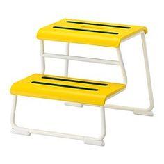 GLOTTEN, Step stool, yellow, white