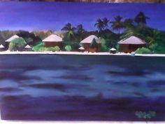 "judul lukisan ""pantai pantar"" on CANVAS size 35X 50 cm"