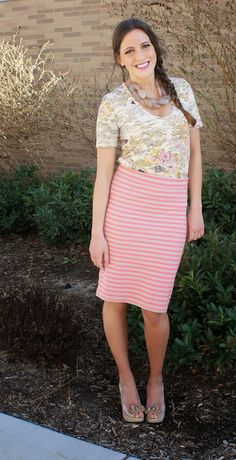 Striped midi skirt with a floral T-shirt