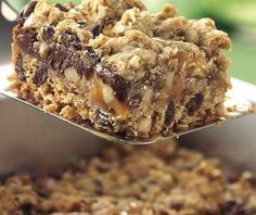 Chocolate Chip, Oats 'n Caramel Cookie Squares