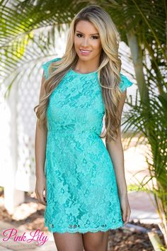 Our new Forever Divine dress has the right amount of elegance and style! Fully laced, mint dress with thin lining underneath, an open back, a button clasp below the neck, and a zipper in the back! Pair with sandals or wedges for the sweetest look!