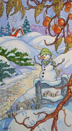 """""""Welcome all Ye Snow Lovers Storybook Cottage Series"""" - Original Fine Art for Sale - © Alida Akers"""