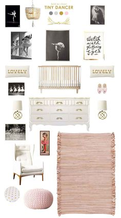 ballerina baby nursery inspiration with RH Baby & Child's gorgeous wood Dauphine pendant. #rhbabyandchild #fallinlove