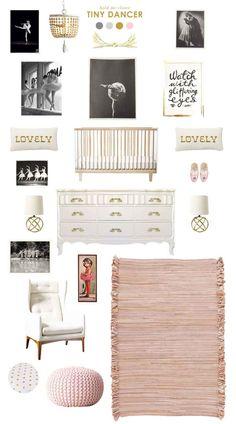 ballerina baby nursery inspiration with RH Baby & Child's gorgeous wood Dauphine pendant. #rhbabyandchild #fallinlove
