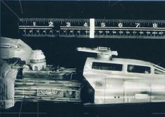 A scale reference photo from ILM for the iconic Y-Wing fighter seen in Death Star trench running action.