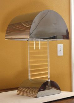 70s Chrome & Lucite Desk Table Lamp Pierre Cardin