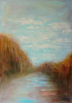 ARTFINDER: Landscape View III by Katia Bellini - oil on canvas (2015) Signed and dated. Varnished. Framed in silver wooden frame that matches the painting very well. Free delivery in Warwickshire and po...