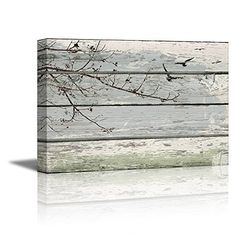 wall26® - Wrapped Canvas Prints Bedroom/Living Room Decorations - Abstract Wall Art Tree Branches with birds on Vintage Wood Background Stretched and Ready to Hang- 16