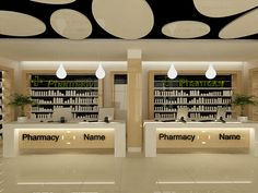 Pharmacy on Behance … Commercial Interior Design, Shop Interior Design, House Design, Pharmacy Store, Pharmacy Humor, Apothecary Pharmacy, Business Place, Medical Office Design, Shop Counter