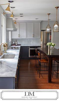 Two Tone Gray Kitchen, Brass Accents, Marble Tile, Quartzite Counters