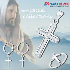 Find Silver Cross earrings, Pendants and Rings collections from Safasilver.com at wholesale price, made from High quality 925 sterling silver embellished with AAA+ cubic zirconia stones. For Long lasting shine you can get this silver cross jewelry in Rhodium plating, gold plating and Rose gold plating. Cross Jewelry, Cross Earrings, Wholesale Silver Jewelry, The Cross Of Christ, Silver Pendants, Jewelry Collection, Jewelry Design, Gold Plating, Sterling Silver