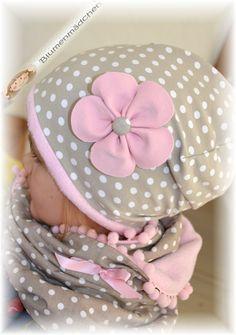 gefütterte Winter Beanie ♥ rosa /taupe♥ mit Blume von Blumenmädchen auf DaWanda.com