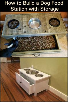 Build Your Dog a Convenient and Mess-Free Dog Food Station with Storage! Dog Food Stands, Dog Bowl Stand, Dog Feeding Station, Pet Station, Free Dog Food, Dog Food Bowls, Dog Food Storage, Dog Rooms, Dog Feeder