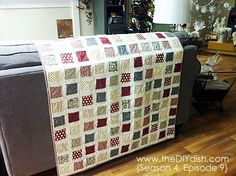 frayed square quilt in one day