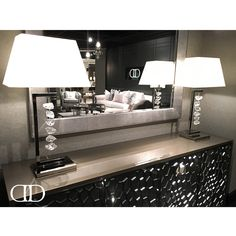 Chic Style: Dorya's Maze Sideboard featured at #hpmkt #hpmkt2016 Shown in Dorya's unique #Gunmetal finish #StainlessSteel #Crystal #Lamps #Leather #Bespoke #Dorya #DoryaInteriors #Design #InteriorDesign #Style #Fashion
